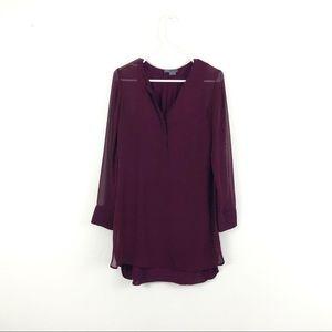 Vince Silk Red Wine V Neck Long Sleeve Shirt Dress